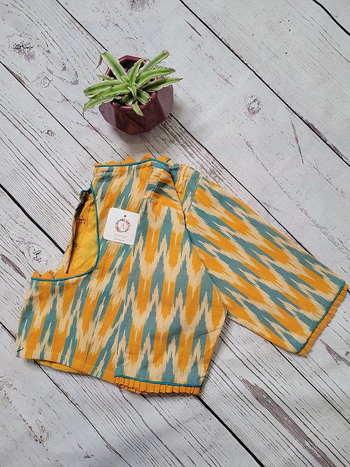 Yellow Ikkat readymade blouse for Indian saree
