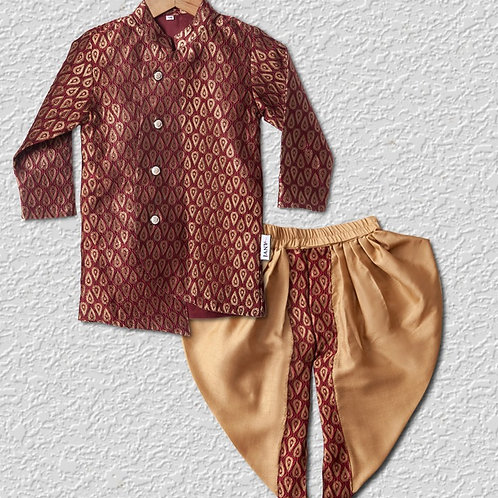 Maroon brocade silk sherwani top with golden satin dhoti top for boys