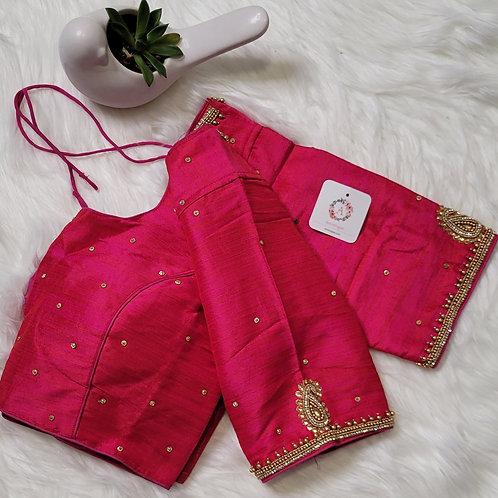 Rani pink aari readymade blouse for Indian saree