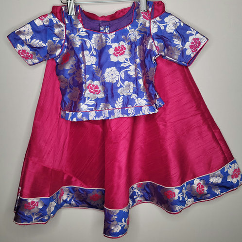 Maroon and Royal blue lehanga for girls