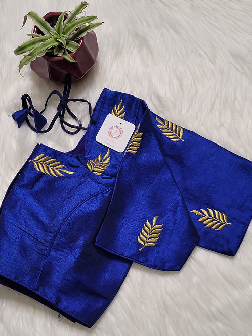 Royal Blue zari embroidery readymade blouse for Indian saree