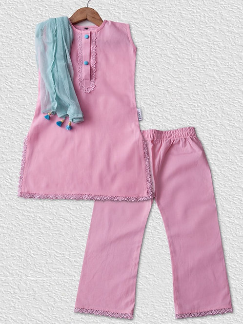 Pink cotton palazzo kurti set with contrast blue duppata for girls