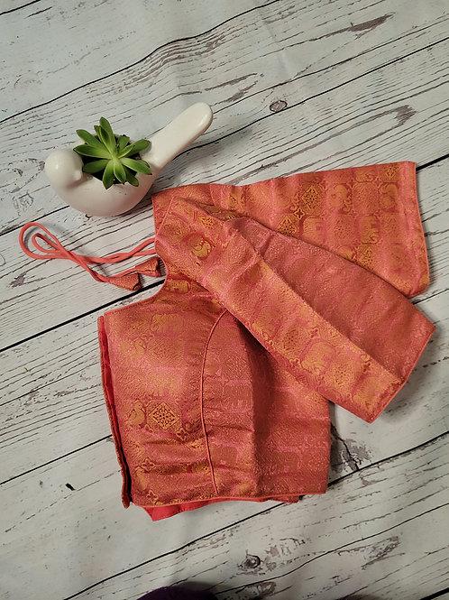 Peach Brocade readymade blouse for Indian saree