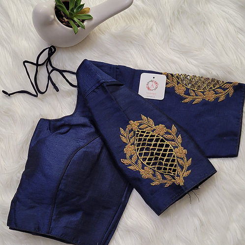 Navy blue handwork readymade blouse for Indian saree
