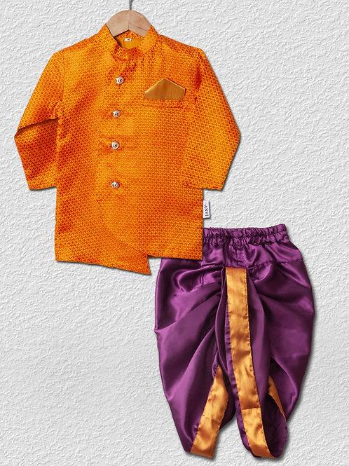 Orange brocade top and Purple satin dhoti pant for boys