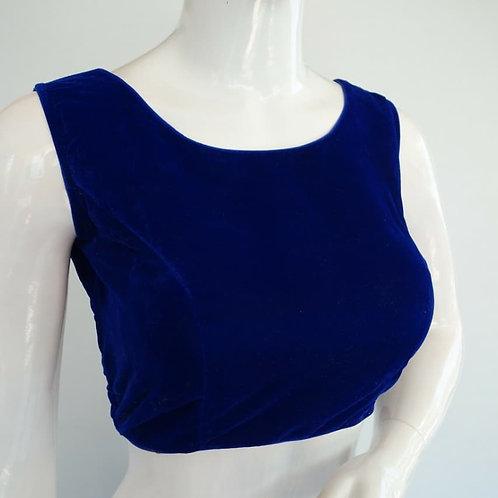 Party wear Velvet readymade blouse for Indian saree - Indigo Blue