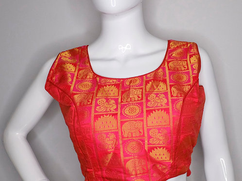 Pink color brocade sleeveless readymade blouse for Indian saree