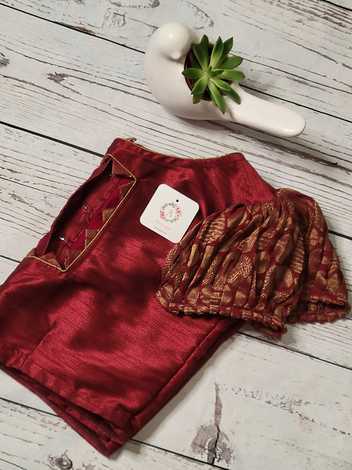 Marron raw silk blouse with puff sleeves for Indian saree