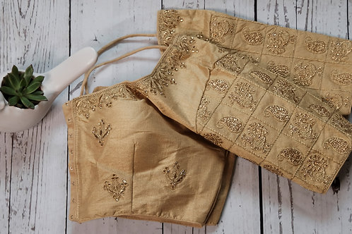 Golden embroidery readymade blouse