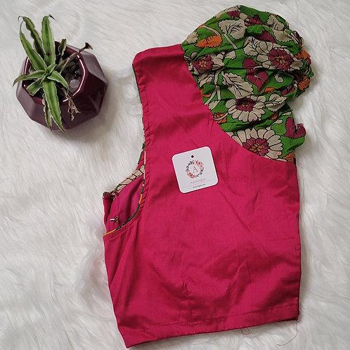 Hot pink soft silk blouse with kalamkari georgette sleeves