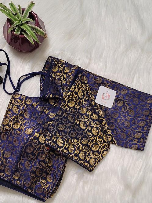 Navy blue color brocade readymade blouse for Indian saree