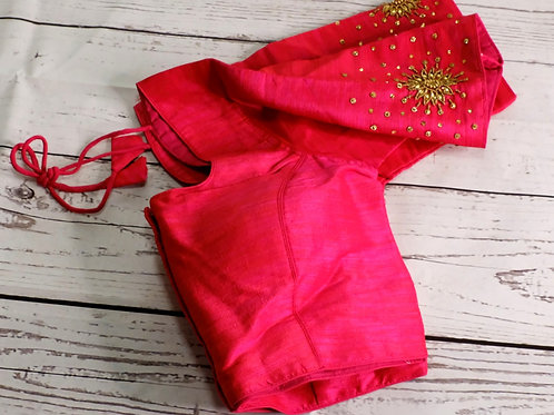 Rani pink Aari handwork blouse for Indian sari