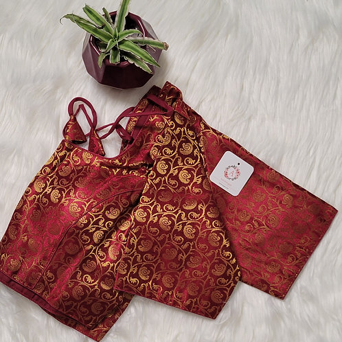Maroon color brocade readymade blouse for Indian saree