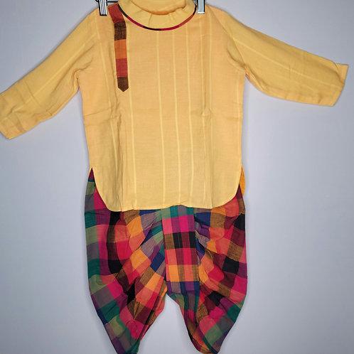 Multi color Dhoti pant and Yellow kurta for Boys