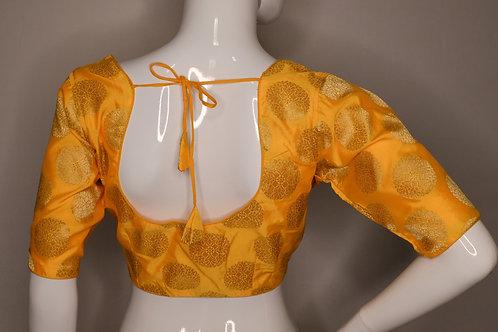 Yellow Brocade readymade blouse for Indian saree
