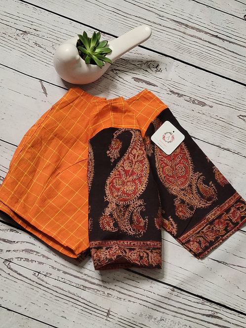 Kalamkari blouse with Brown applique work on the back -Orange