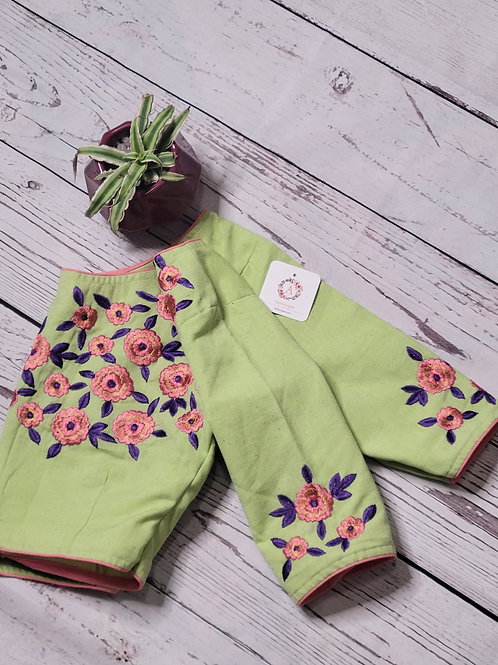Pista Green khadi cotton blouse with pink and violet hand embroidery work