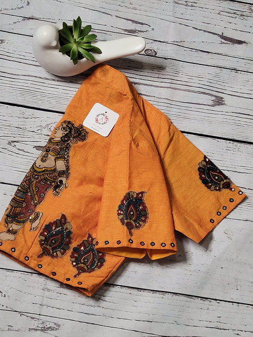 Yellow Khadi cotton readymade blouse with applique work for Indian saree