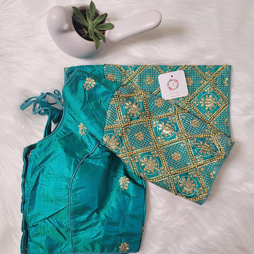 Peacock Green - Hand worked embroidery readymade blouse for Indian saree