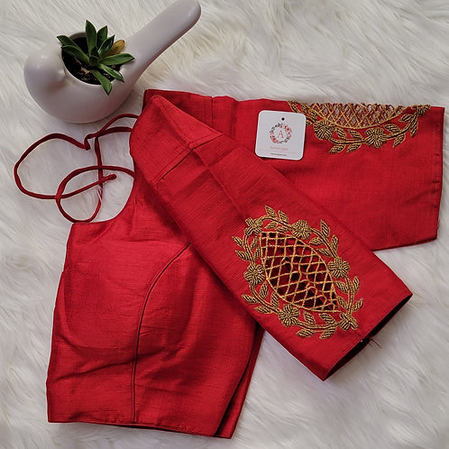 Chilli red handwork readymade blouse for Indian saree