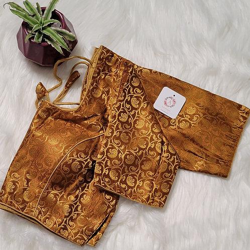 Dark golden brocade readymade  blouse for Indian saree