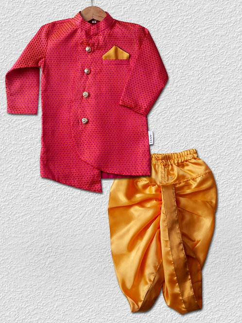 Fuchsia pink brocade silk top with Yellow dhoti pant