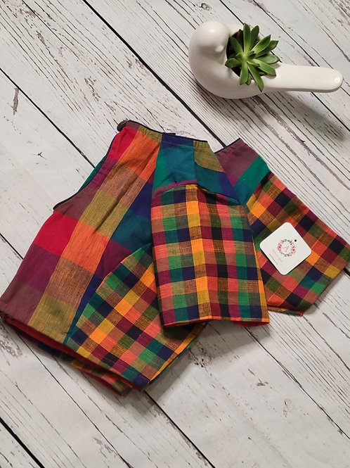 Madras checks khadi cotton readymade blouse for Indian saree