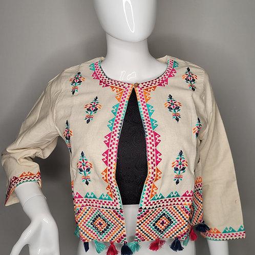 Khadi cotton jacket with Kantha work