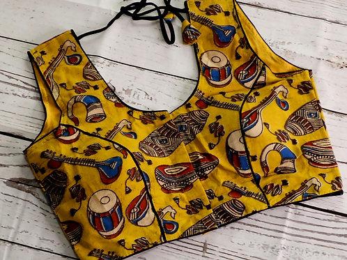 Yellow color kalamkari cotton blouse for Indian sari