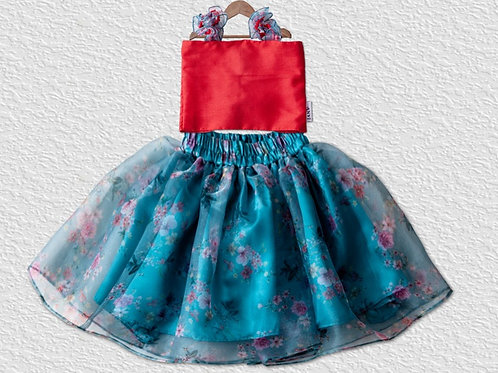 Teal blue organza skirt with silk top for girls