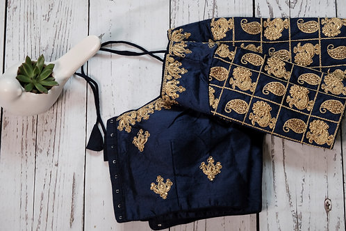 Navy Blue embroidery readymade blouse