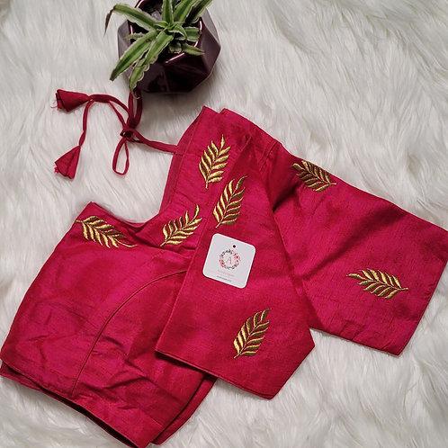 Rani Pink zari embroidery readymade blouse for Indian saree