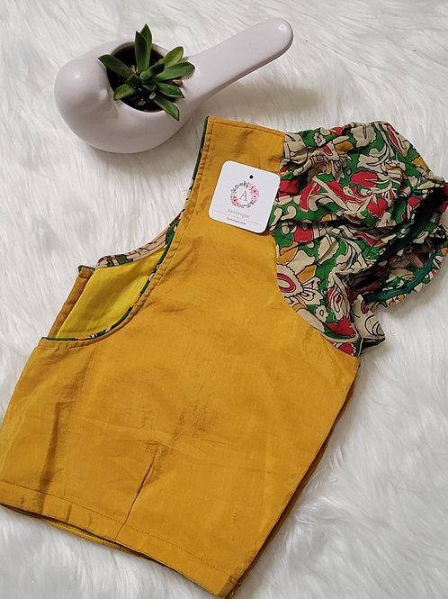 Mustard soft silk blouse with kalamkari georgette sleeves