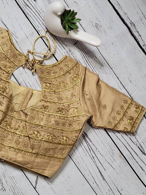 Golden Elephant zari readymade blouse for Indian sari