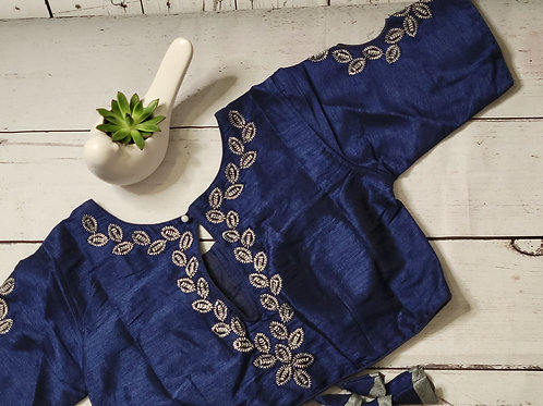 Navy Blue zari embroidery blouse with fancy cut work