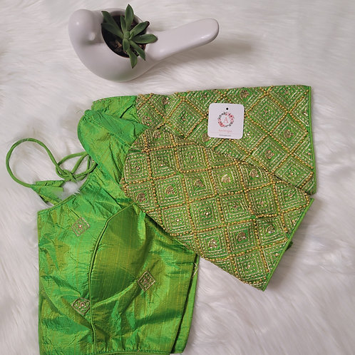 Parrot Green handwork readymade blouse for Indian saree