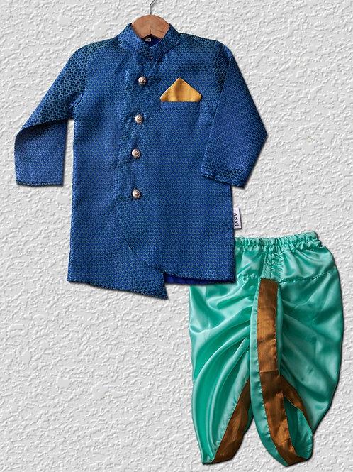 Dark Blue brocade top and sea green satin dhoti pant