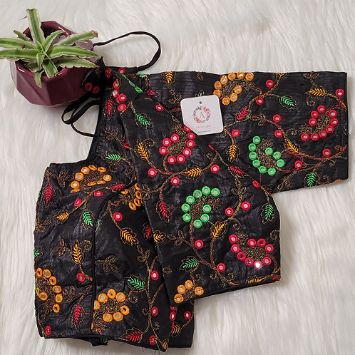Black readymade blouse for Indian saree with multicolor embroidery work