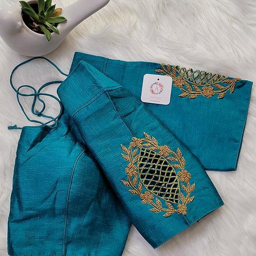 Rama green handwork readymade blouse for Indian saree