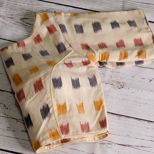 Cream Ikkat cotton readymade blouse for Indian sari