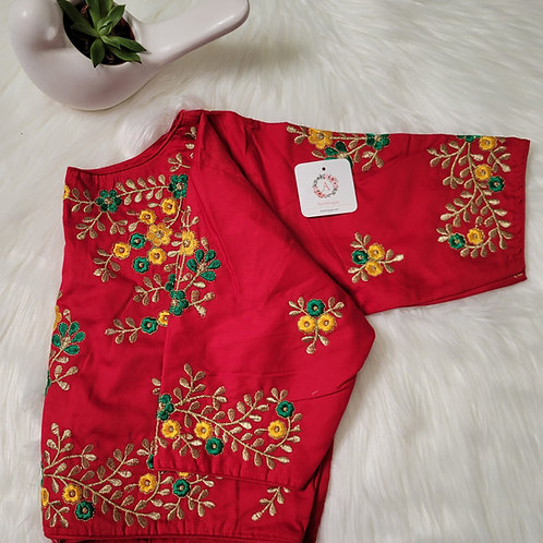 Chili Red cotton silk readymade blouse for Indian saree