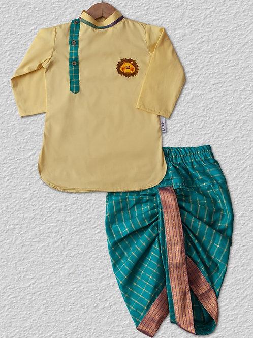 Yellow cotton kurta with green checked silk dhoti pant