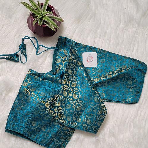 Rama Blue Brocade readymade blouse for Indian saree
