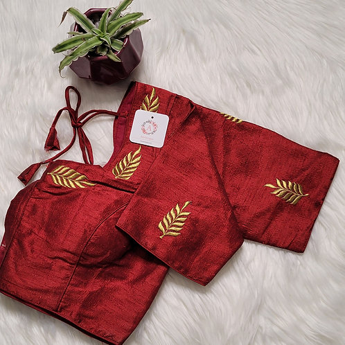Maroon zari embroidery readymade blouse for Indian saree