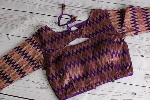 Violet Ikkat silk blouse for Indian sari