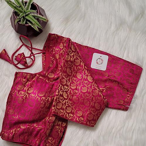 Rani pink Brocade readymade blouse for Indian saree