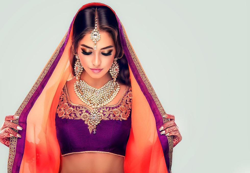 Portrait of beautiful indian girl . Youn