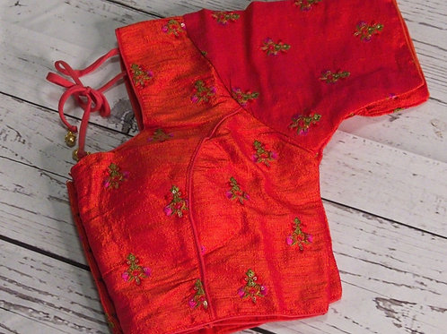 Orange Embroidery readymade blouse for Indian sari
