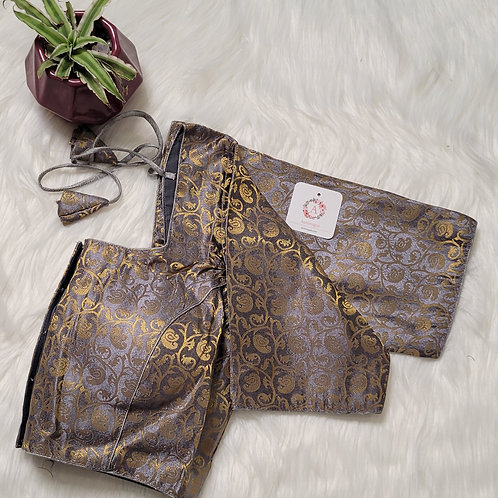Grey color brocade readymade blouse for Indian saree
