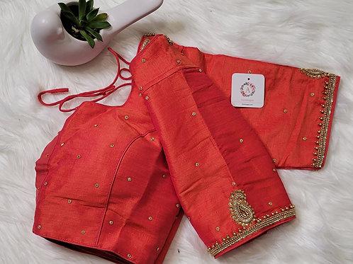 Orange color aari work readymade blouse for Indian saree